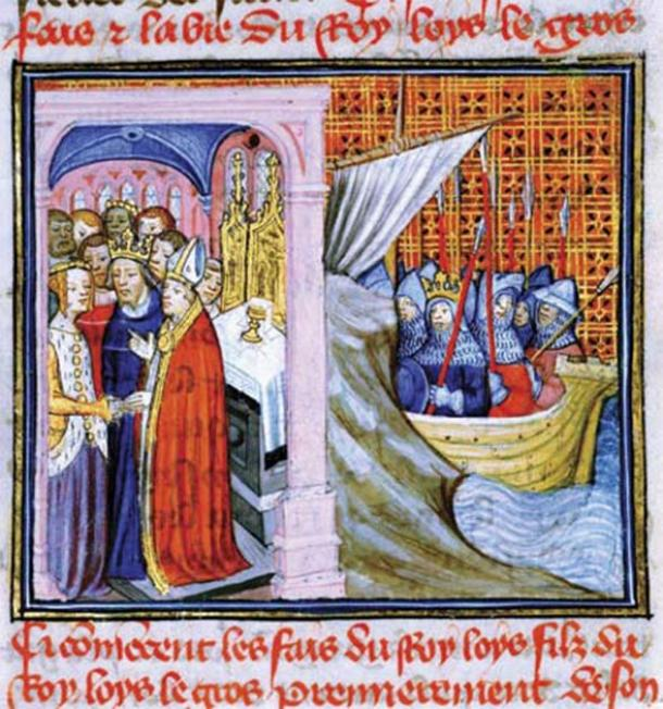 14th-century representation of the wedding of Louis and Eleanor on the left, and Louis leaving for the crusade on the right. ( Public domain)