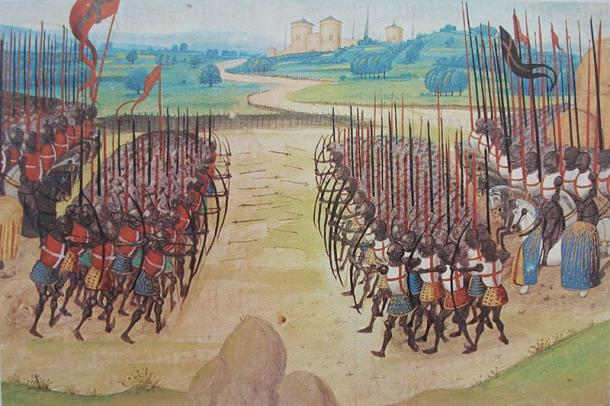 The Battle of Agincourt was one of many battles which took place between the French and the English during the course of the Hundred Years' War. Image from the Chronicles of Enguerrand de Monstrelet, a French 15th century chronicler. (Public Domain)