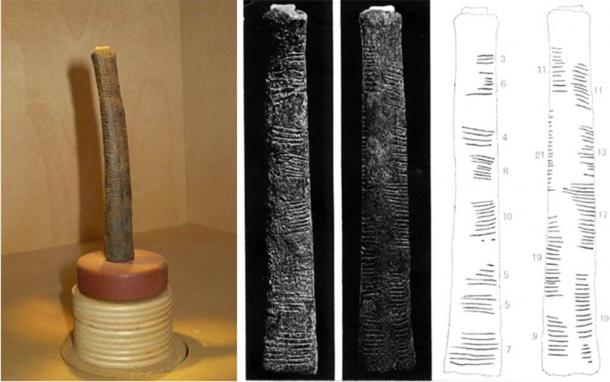 Left; Ishango bone on display at Royal Belgian Institute of Natural Sciences. Right; De Heinzelin's detailed drawing of the Ishango bone. Researchers have presented various hypotheses to explain its use. (Left; CC BY-SA 3.0. Right; Dirk Huylebrouck/Reseachgate )