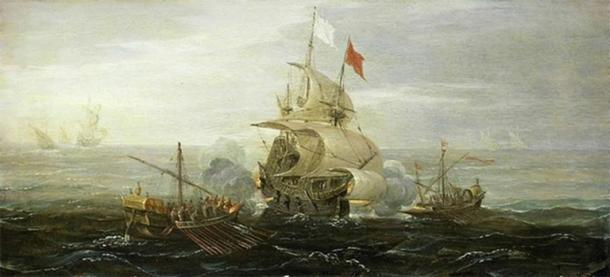 French ship under attack by Barbary pirates, by Aert Anthoniszoon (ca. 1615) National Maritime Museum, England. (Public Domain).