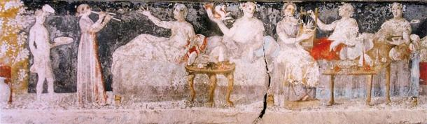 A banquet scene from a Macedonian tomb of Agios Athanasios, Thessaloniki, fourth century BC (Public Domain)