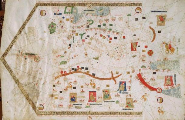 1439 portolan chart by Gabriel de Vallseca (Museu Maritim, Barcelona). (Public Domain)