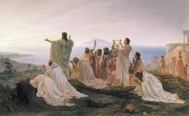 Los pitagóricos celebrando el amanecer, en una pintura de 1869 de Fyodor Bronnikov. (Dominio público)