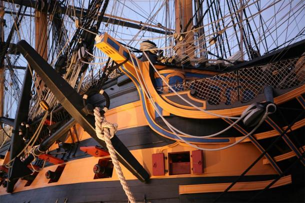 Detail of the restored HMS Victory, Portsmouth, England (Shelli Jensen / Adobe Stock)