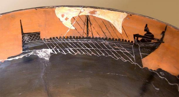 Illustration of an Archaic Greek ship on pottery. (Public Domain)
