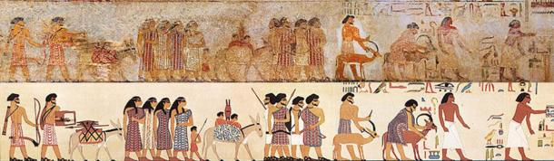 "Procession of foreign delegation visiting Egypt found at the tomb of Khnumhotep I, including ""Abisha the Hyksos"", one of the first known uses of the term Hyksos. (Public domain) Below is drawing of the same. (NebMaatRa / CC BY-SA 3.0)"