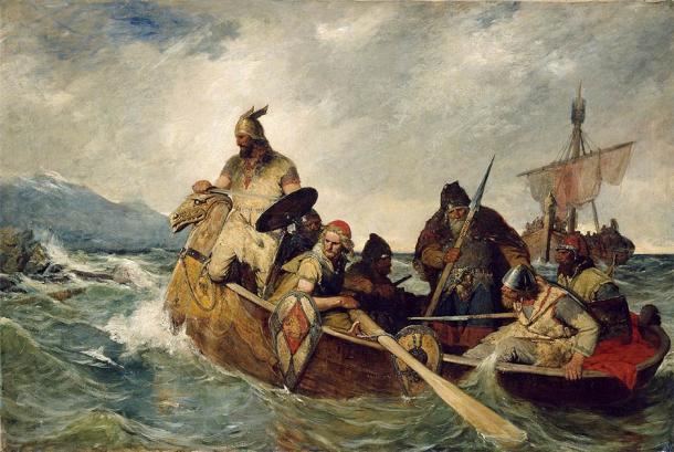 Norsemen landing in Iceland from a painting by Oscar Wergeland (1909). (Oscar Wergeland / Public domain)