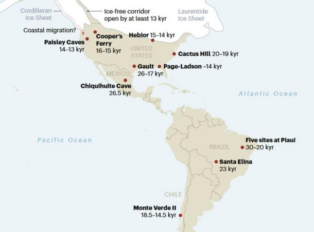 Key sites in the peopling of the Americas. Some of these dates are controversial. (Nature 2020)