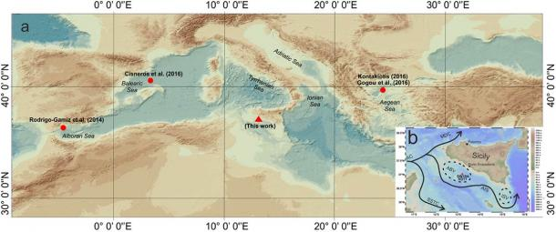 The research team retrieved planktonic organisms from the sea floor off the coast of Sicily. The map shows the location of the sample (red triangle) and the location of marine records used for comparison (red circles). (Margaritelli, G. et. al. / Scientific Reports)