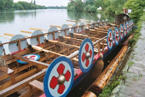 Reconstructed smaller style Roman naval ship. (Courtesy of author)