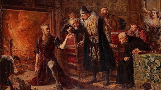 Polish alchemist, philosopher, and medical doctor Sedziwój performing a transmutation for Sigismund III, by Jan Matejko (1867). Art Museum, Łódź,  (Public Domain)