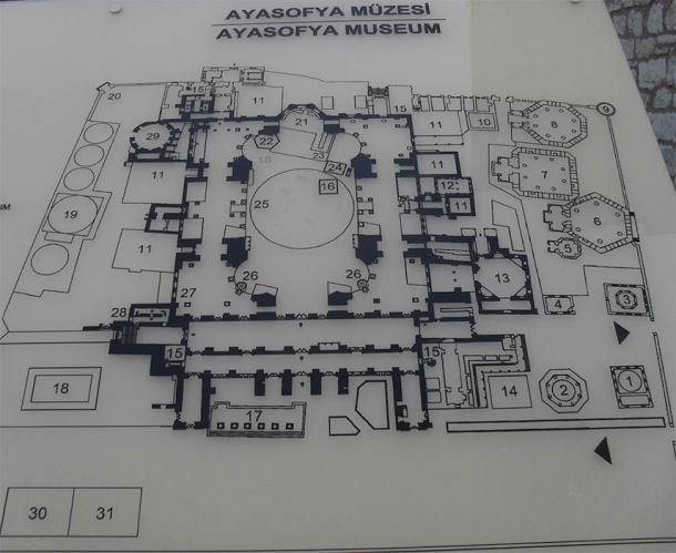 Lay-out of the Hagia Sophia as a museum (Image: Courtesy Micki Pistorius)