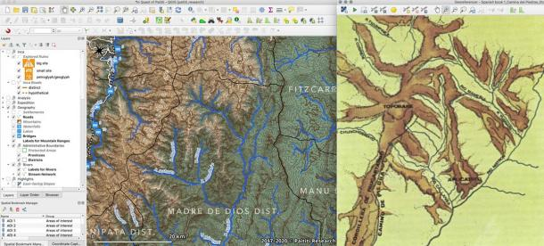 Creation of river network map in a target region using a digital elevation model (left) and georeferencing from old maps (right). (Paititi Research Team)