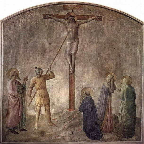Fresco by Fra Angelico, Dominican monastery at San Marco, Florence, showing the lance piercing the side of Jesus on the cross (c. 1440) (Public Domain)