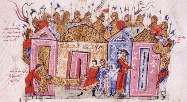 Varangian guardsmen in an illustration in a medieval chronicle. (Public Domain)