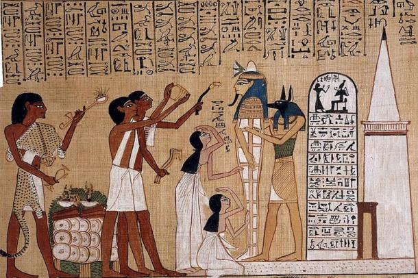 Opening of the mouth ceremony from Ancient Egyptian Papyrus from the Book of the Dead of Hunefer (Public Domain)