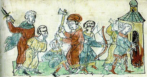 Rus warriors sent by Igor of Kiev killing Greeks in the 941 campaign. (Public domain)