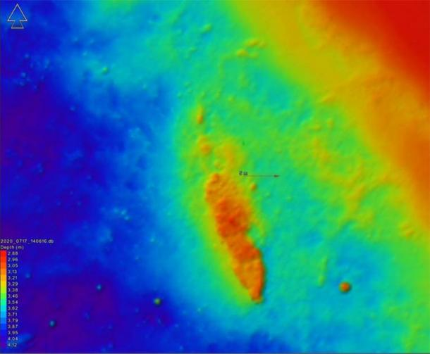 This multi-beam measurement of sea depths in the Baltic Sea shows the sunken Danish warship. (Femern A/S / The Viking Ship Museum)