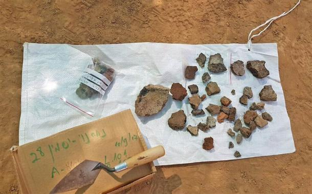 Some of the crucible fragments and copper slag pieces found at the advanced metal furnace excavation site in southern Israel. (Anat Rasiuk / Israel Antiquities Authority)