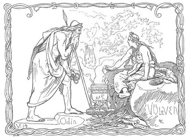Odin and the Völva prophetess - Odin holding the spear Gungir, by Lorenz Frølich (1885) Published in Karl Gjellerup's Den ældre Eddas Gudesange. (Public Domain)