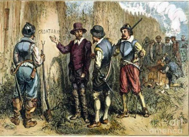 "Painting by Englishman John White of Sir Walter Raleigh's 1590 Expedition to Roanoke Island to find the Lost Colony, where they found ""Croatoan"" carved on a tree. This may refer to either Croatoan Island or the Croatoan people. (John White / Public domain)"