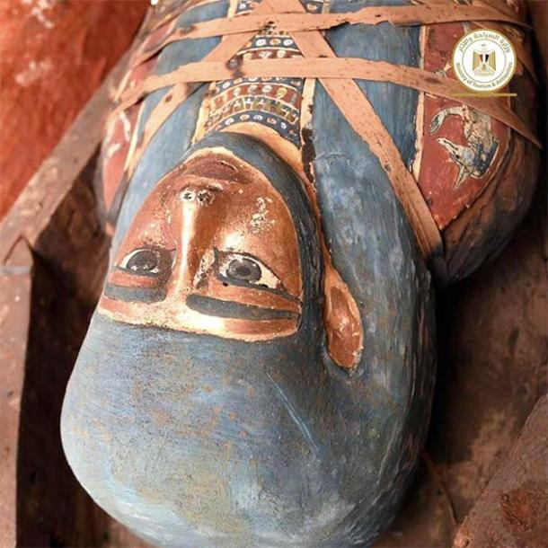 A closeup of one of the colorful ancient Egyptian coffins recently found in one of three new shaft discovered at the Saqqara necropolis. Note the binding around the chest section of the coffin, which means this sarcophagus hasn't been opened since it was put in the ground over 2,000 years ago! (Egyptian Ministry of Tourism and Antiquities)