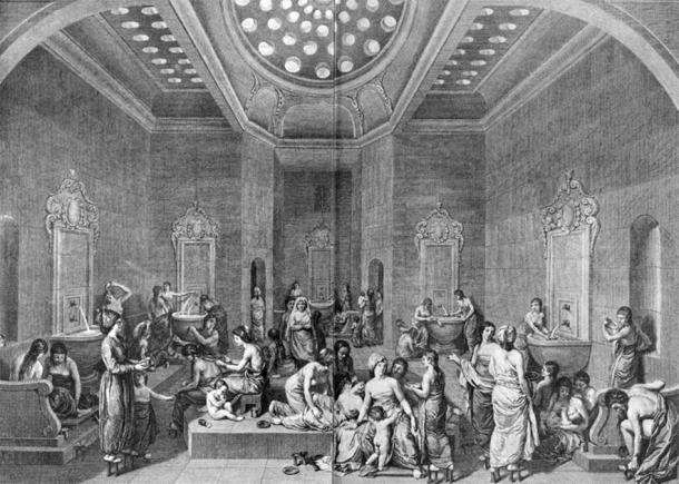 A Turkish bath provided for a harem with women and children. (Public Domain)