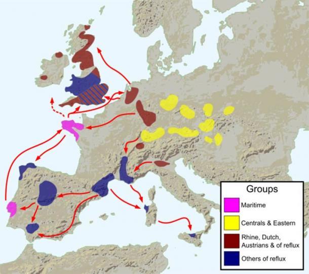 Early diffusions of the Bell Beaker culture circa2800 BC. (Fulvio314 / CC BY-SA 3.0)