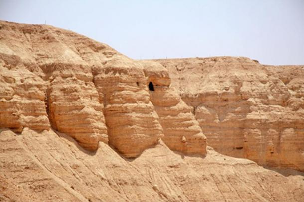 The Qumran cave where The Copper Scroll was discovered is an archaeological site in the West Bank located on a dry marl plateau about 1.5 km (1 mile) from the northwestern shore of the Dead Sea. (CC BY-SA 2.5)