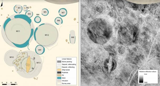 Left image: The interpretation map of the mound cemetery based on the full depth-range of the GPR dataset; Right image: The corresponding depth slices from the depth-range 0.3-0.8 meters below the surface. (Source: © Kartverket/CC-BY-4.0; figure by L. Gustavsen/ Antiquity Publications Ltd).