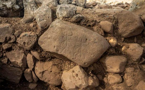 The Hispin stone, was found at the Golan Heights fort, near a gateway to the complex. (Yaniv Berman/ Israel Antiquities Authority)