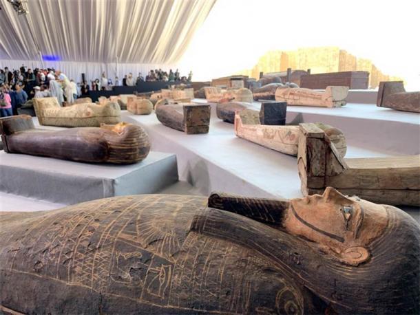 Some of the sarcophagi recently found at the Saqqara necropolis. (Charlene Gubash / NBC News)
