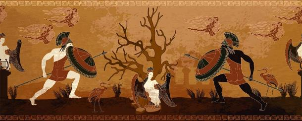 A stylized ancient Greece battle scene between Spartan and Athenian warriors from a Greek vase painting. (Matrioshka / Adobe Stock)