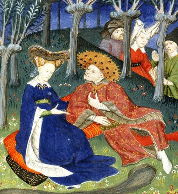 Medieval duke and ladies in a garden. (British Library / CC0)