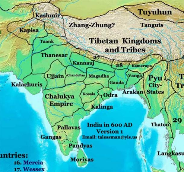 "India in the 7th century AD was divided into many ""empires and dynasties"" and the Pallavas were only one of them. (Talessman at English Wikipedia / CC BY 3.0)"