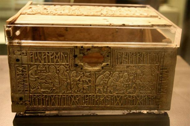 Franks Casket and the story about Wayland the Smith carved into one side of casket (left in the photo). This is a very famous artifact. (British Museum / CC BY-SA 3.0)