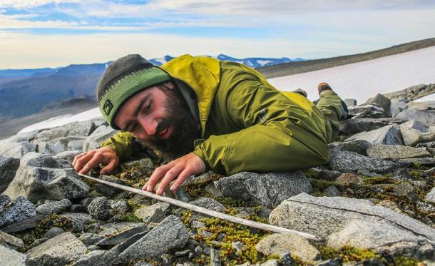 A researcher examines an ancient wooden arrow shaft that emerged from the Langfonne ice patch in Norway. (Glacier Archaeology Program, Innlandet County Council)