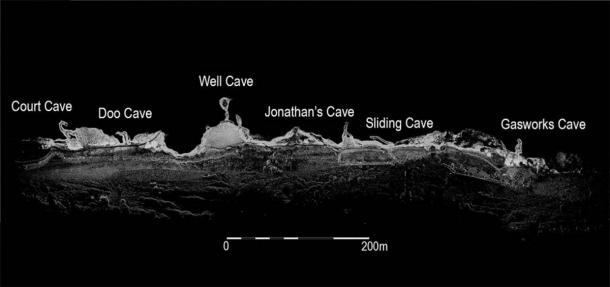 X-ray view showing the location of the Wemyss Caves. (The Scape Trust)