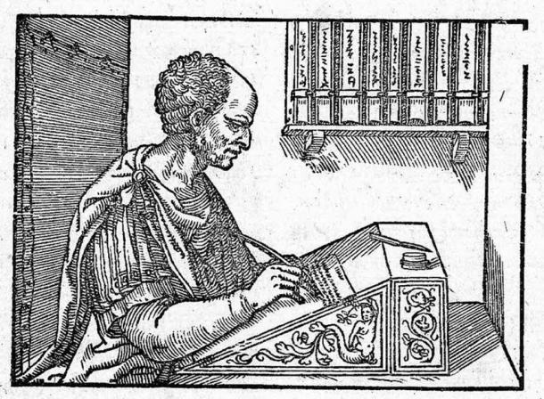 Cicero writing his letters. Woodcut by unknown artist; book printed by Hieronymus Scotus (1547) (Public Domain)