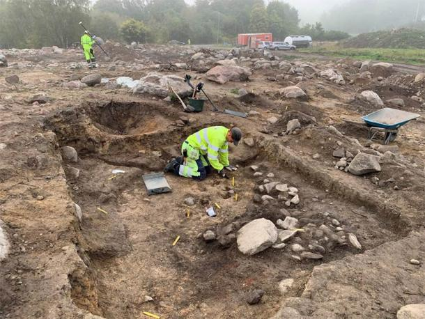 Iron Age Viking house excavation at the site where the Viking silver hoard was found. (The Archaeologists)