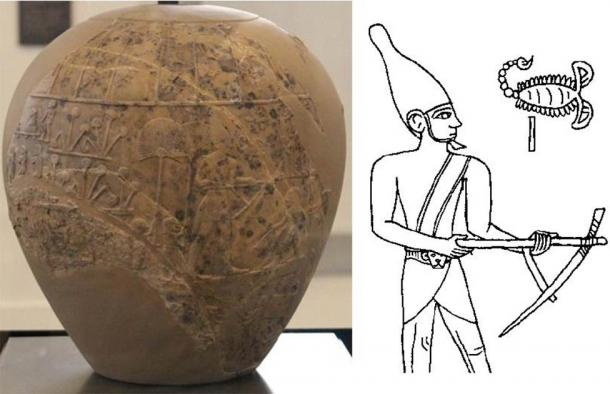 Left: The Scorpion Macehead, Ashmolean Museum (CC0). Right: Drawing possibly depicting the Scorpion King on the macehead. (CC BY SA 3.0 de)