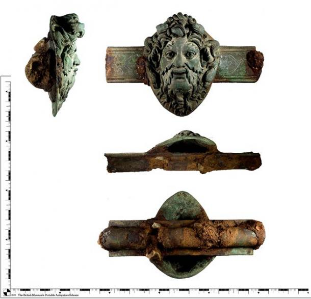 Copper alloy Roman furniture fitting with god Oceanus found in Old Basing, Hampshire. (British Museum / PAS)
