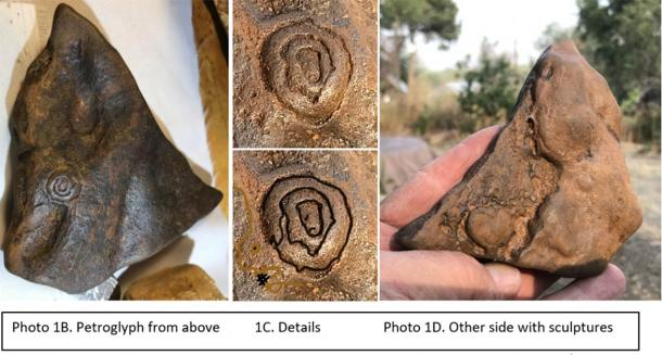Petroglyphs on artfact amidst carvings on Kentucky artfact found by Clay Mathis. (Author Supplied)