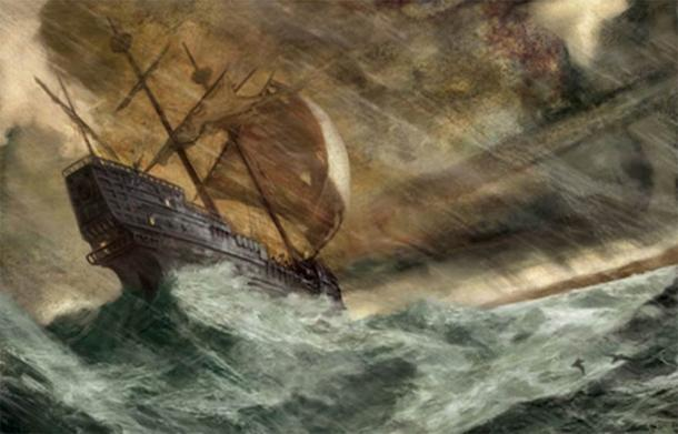 Artist's depiction of an ancient ship in trouble. (Art by Jon Foster)