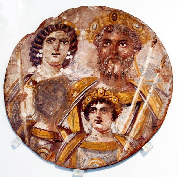 The Severan dynasty, circa 200 AD, showing Septimius Severus with his family: left: wife Julia Domna; lower half: sons Geta and Caracalla. (© José Luiz Bernardes Ribeiro)