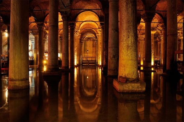"The underground Basilica Cistern built by Emperor Justinian, which lies about 150 meters (490 meters) from Hagia Sophia and is usually ""covered"" in water. (FOTOALEM / Adobe Stock)"