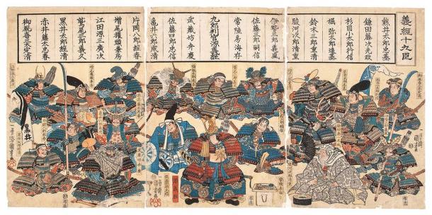 The genealogy of the Minamoto Clan in an intricate ukiyo-e woodblock print. (English: Utagawa Kuniyoshi 日本語: 歌川国芳 / Public domain)