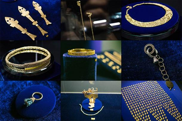 Some of the beautiful adornments found inside the Scythian Empire Arzhan-2 burial mound in the Tuva Republic. (Vera Salnitskaya / The Siberian Times)