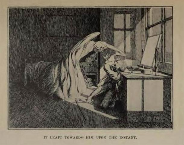 "Illustration by James McBryde for M. R. James's story ""Oh, Whistle, And I'll Come To You, My Lad"" (1904). (Public Domain)"