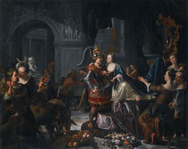 Circe and Odysseus, by Matthijs Naiveu (1702) (Public Domain)